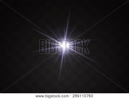 Light Flare Special Effect With Rays Of Light And Magic Sparkles. Glow Transparent Vector Light Effe