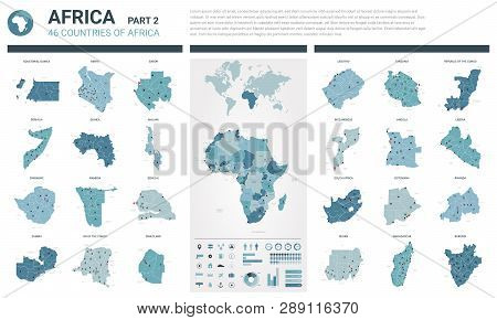 Vector Map Set.  High Detailed 46 Map Of African Countries With Administrative Division And Cities.