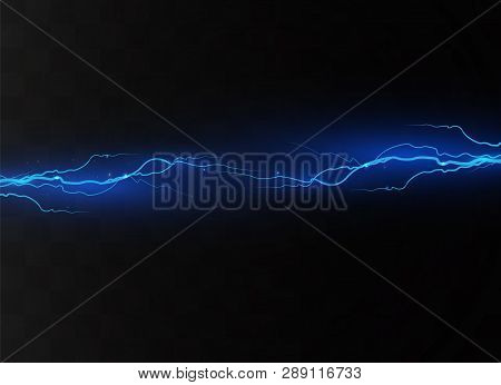 Lightning On A Transparent Background. Electric Discharge And Current. Magic And Bright Lighting Eff