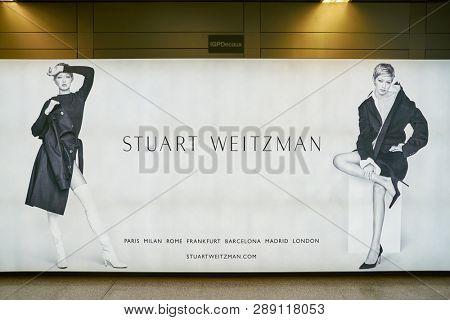 LINATE, ITALY - CIRCA NOVEMBER, 2017: Stuart Weitzman advertisement in Milan Linate Airport.