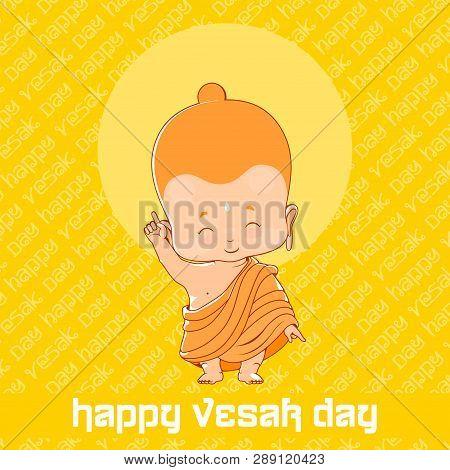 Little Buddha In Happy Vesak Day. Yellow Greeting Card