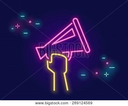 Megaphone Shouting Out With Speech Bubbles Banner For Social Networks In Neon Light Style On Dark Ba