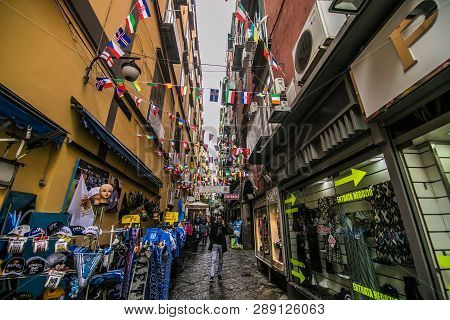 Naples, Italy - November, 2018: Classical Romantic Small Street In The Historical Center Of Naples,