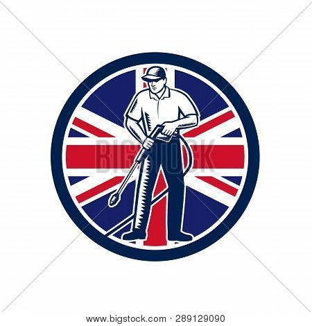 Illustration Of British Worker With Pressure Washer Chemical Washing Using High-pressure Water Spray