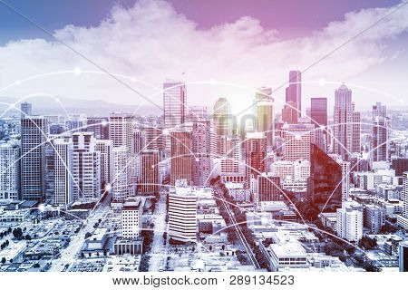 Modern Seattle Urban Skyline With High-speed Data And Internet Communication Network. Concept Of Cyb