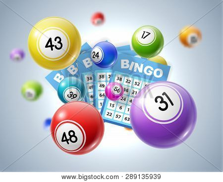 Lottery Balls And Tickets 3d Vector Illustration Of Lotto, Bingo Or Keno Gambling Sport Games. Colou