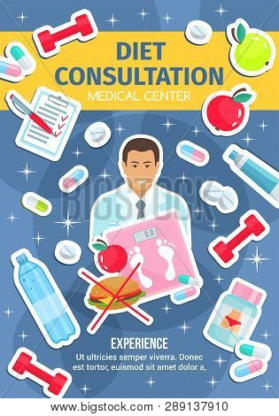 Dietetics Medical Center, Healthy Diet Nutrition And Dietitian Doctor. Vector Diet Consultation And