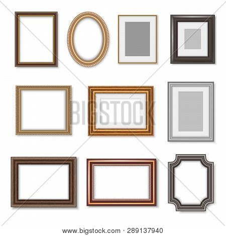 Photo Frames And Ornate Picture Borders Isolated Realistic Set. Vector Blank Rectangular Vintage Woo