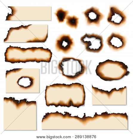 Paper Burnt Holes Vector Realistic Set. Paper Pages And Sheet Scraps With Fire Burned Or Scorched Ed