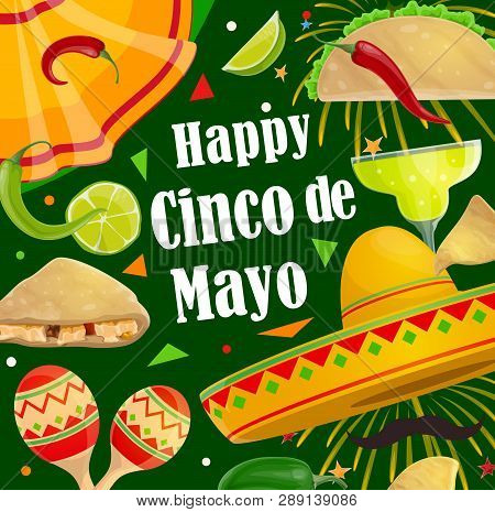 Cinco De Mayo Mexican Holiday Celebration Fiesta Poster Of Sombrero, Mustaches And Jalapeno Chili Pe