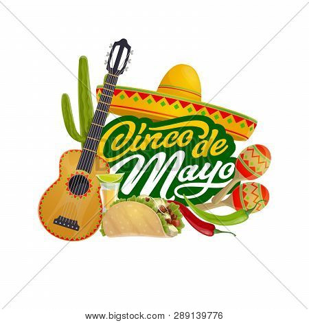 Cinco De Mayo Mexican Fiesta Calligraphy Greeting, Mexico Traditional Holiday Celebration. Vector Ci