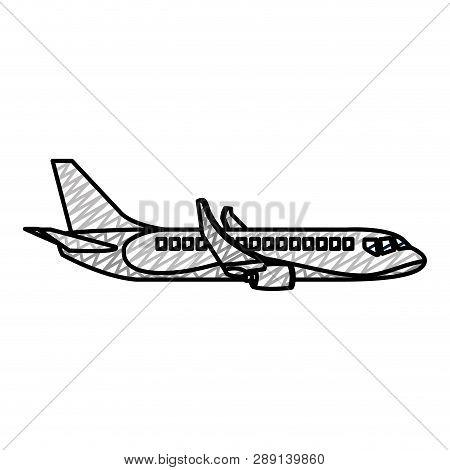 Doodle Side Travel Airplane International Transport Vector Illustration