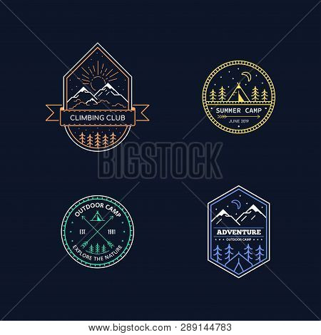 Set Of Badge Design For Outdoor Activities. Line Art Illustration. Mountain Expedition, Outdoor Camp