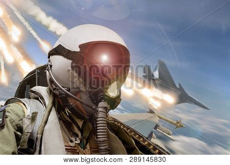 Pilot Cockpit View During Air To Air Combat With Missiles Flares Chaff Being Deployed