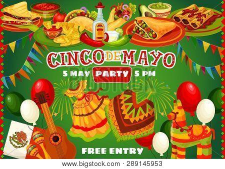 Mexican Cinco De Mayo Fiesta Party Celebration Poster In Mexico Flag Frame. Vector Cinco De Mayo Hol
