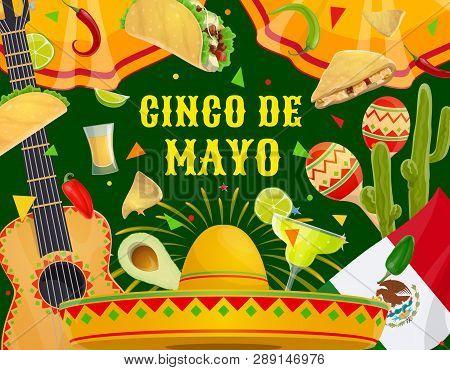 Cinco De Mayo Mexican Holiday Celebration And Traditional Mexico Party Fiesta. Vector Cinco De Mayo
