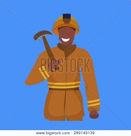 Male Miner Holding Pick Axe Happy Man In Orange Uniform Professional Occupation Concept Coal Industr