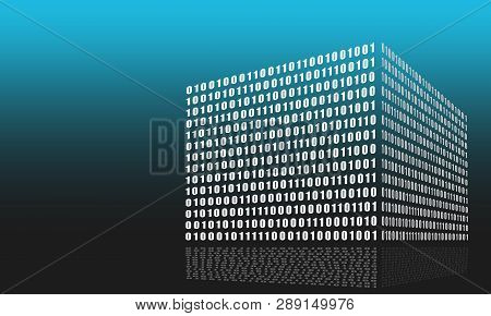 Binary Code Concept. Algorithm Binary, Data Code, Decryption And Encoding, Row Matrix