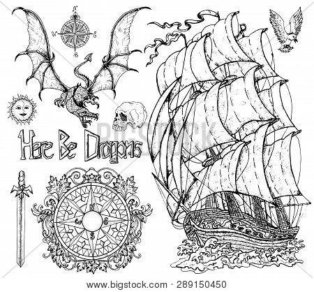 Design Set With Sailboat, Flying Dragon, Baroque Compass, Sword, Skull. Vector Sketch Of Fantasy Epi