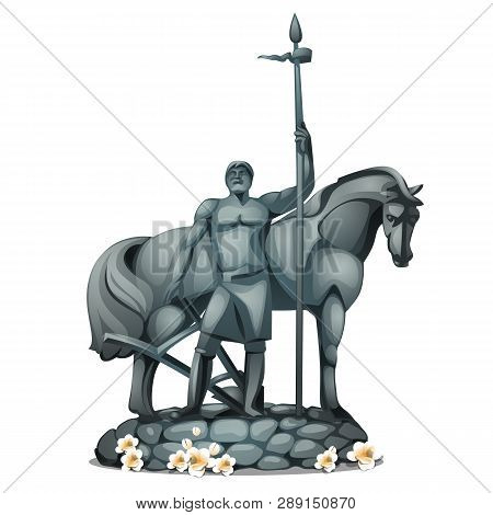 Monument To The First Settler In Russian City Penza Made Of Stone Isolated On White Background. Vect