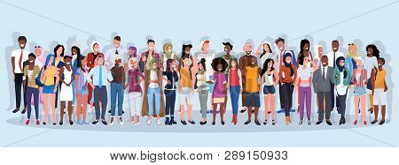 Mix Race People Group Different Occupation Standing Together Over Blue Background Male Female Worker
