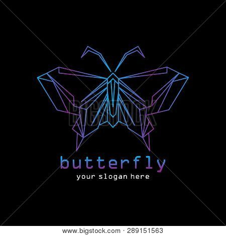 Geometric Butterflies Isolated On Black Background. Vector Flying Colorful Butterfly . Gradient Beau