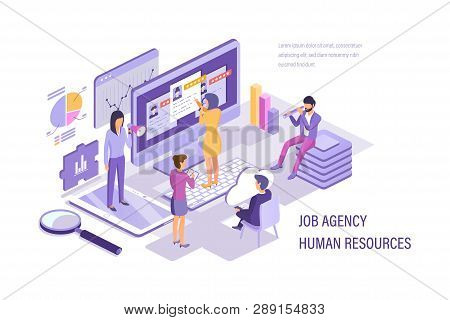 Job Agency Human Resources. Search Working Staff, Selection, Study Resume.