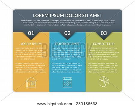 Infographic Template With 3 Elements For Text And Icons, Can Be Used For Web Design, Workflow Layout