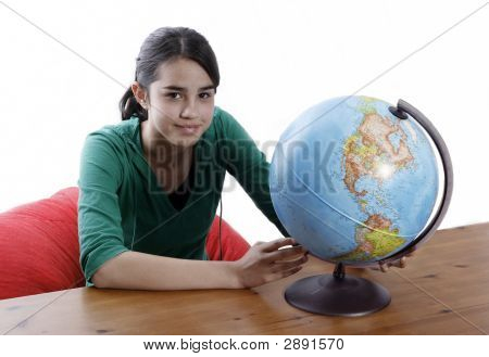 Girl With A Globe Of The World Over White Background
