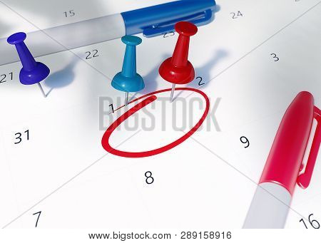 Isometric 3d Render Calendar With Colorful Pins And Gold Coins. Calendar Of 26th April 2019 Circled