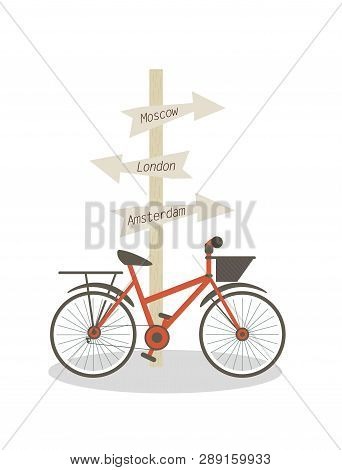 Bike Is Parked At Post With Direction Signs. Flat Vector Illustration On White Background Post With