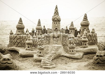 Fantasy castle completely made of sand