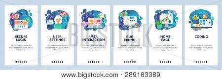 Mobile App Onboarding Screens. Secure Login, Website Coding And Software Development. Menu Vector Ba
