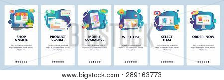 Mobile App Onboarding Screens. Online Shopping, Internet Store, Mobile Ecommerce. Menu Vector Banner