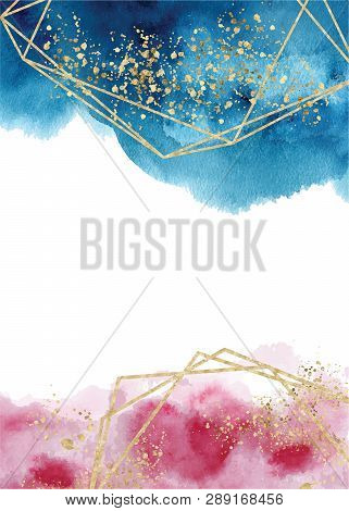 Watercolor Abstract Aquamarine, Background, Hand Drawn Watercolour Blue, Pink And Gold Texture Vecto