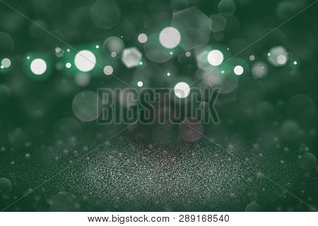 Teal, Sea-green Beautiful Sparkling Abstract Background Glitter Lights Defocused Bokeh - Festal Mock