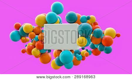 Flying Spheres And Box Isolated On Pink Background. Abstract Theme For Trendy Designs. Spheres In Bl