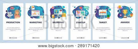 Mobile App Onboarding Screens. Marketing, Branding, Video Production, Startup. Menu Vector Banner Te