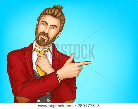 Half-length Portrait Of Attractive Hipster Men In Red Suit, Loosening His Tie, Pointing With Finger