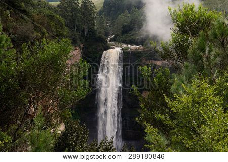 Karkloof waterfall on a misty morning in the Natal Midlands, South Africa. poster
