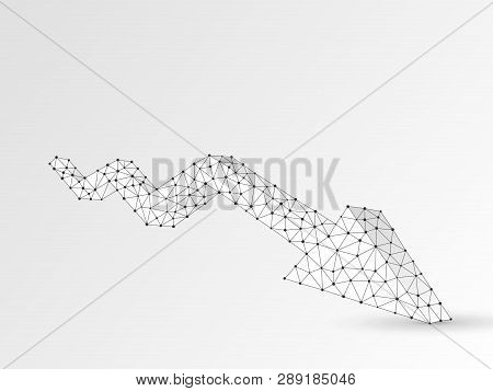 Downtrend Arrow Chart. Business Technological Polygonal Vector Origami Illustration. Low Poly Trend,