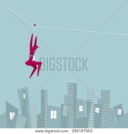 Businessman Runs Away From Mid-air. Below Is The City Building.