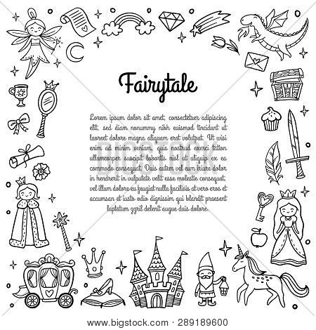 Black And White Frame With Cute Fairy Tale Objects. Doodle Vector Illustration With Text. Good For G