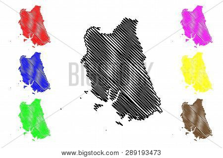 Trang Province (kingdom Of Thailand, Siam, Provinces Of Thailand) Map Vector Illustration, Scribble