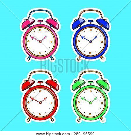 Set Of Bright Comic Alarm Clock. Vector Cartoon Object In Retro Pop Art Style Isolated On Blue Backg