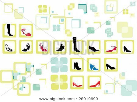 shoes and boots isolated on a design background