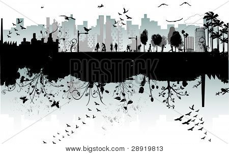 modern urban scene : the two sides of the city - various elements in vector format