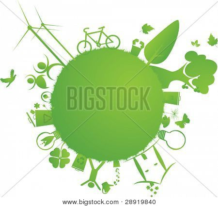 protect the Earth : vector illustration of environmental elements and logo