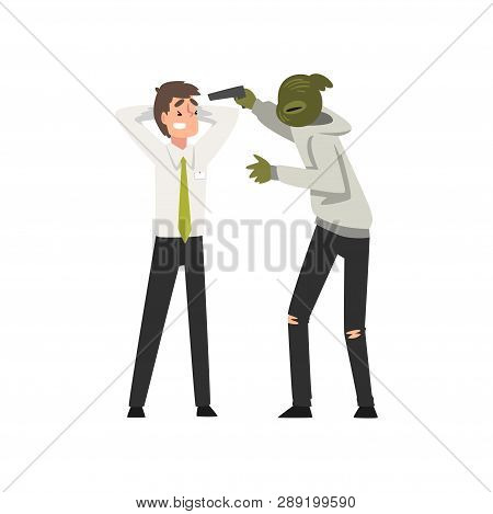 Bank Robbery, Masked Male Criminal Threatening Bank Manager With Gun, Bank Robbery Vector Illustrati