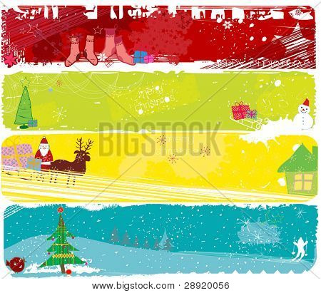 set of four christmas banners